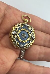 Antique-18-K-Gold-Enamel-Diamonds-Masonic-Eatern-Star-Pocket-Watch