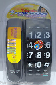 Black-Large-Number-Big-Button-HOME-TELEPHONE-Corded-Wall-Desk-10-Memory-Dialing