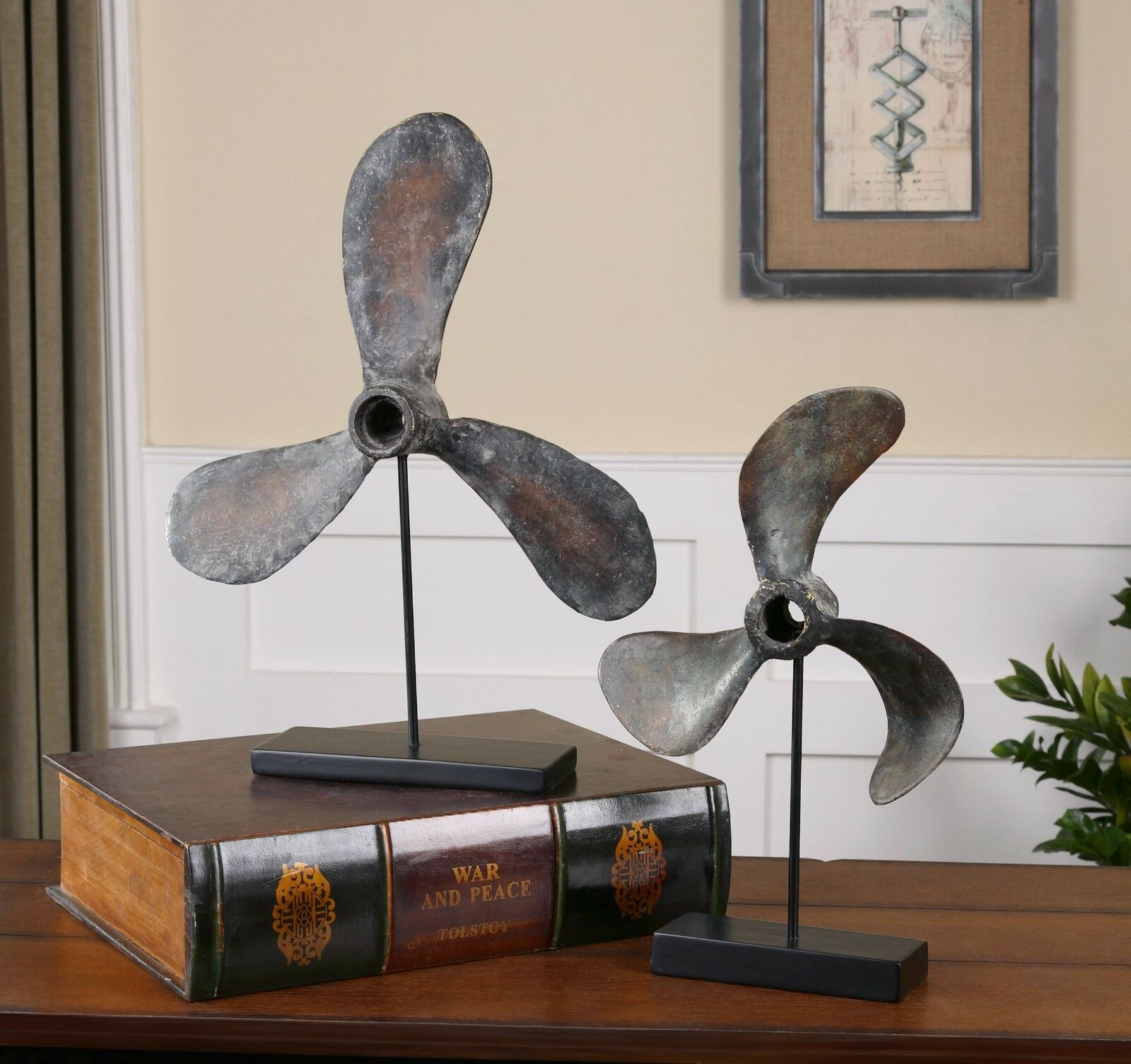 PAIR COASTAL BEACH BOAT PROPELLERS PROPS & STANDS STATUE SCULPTURES SCULPTURES SCULPTURES NAUTICAL 6d92ec