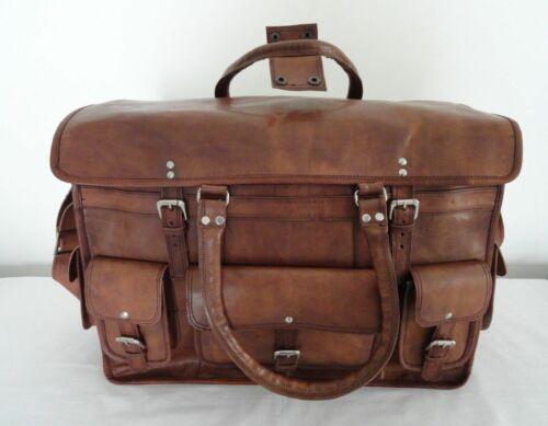 Vintage Leather Bag Travel Men Retro Gym Luggage Suitcase Overnight Duffle Large