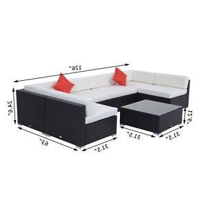 Rattan Furniture 7 Pcs Sofa Garden Outdoor Patio Wicker Cushioned Lawn