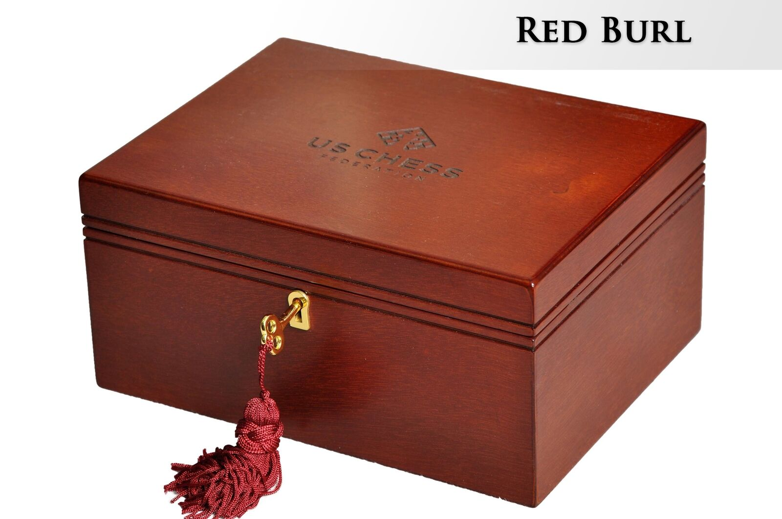 Premium Chess Box - rosso Burl - With US CHESS Logo