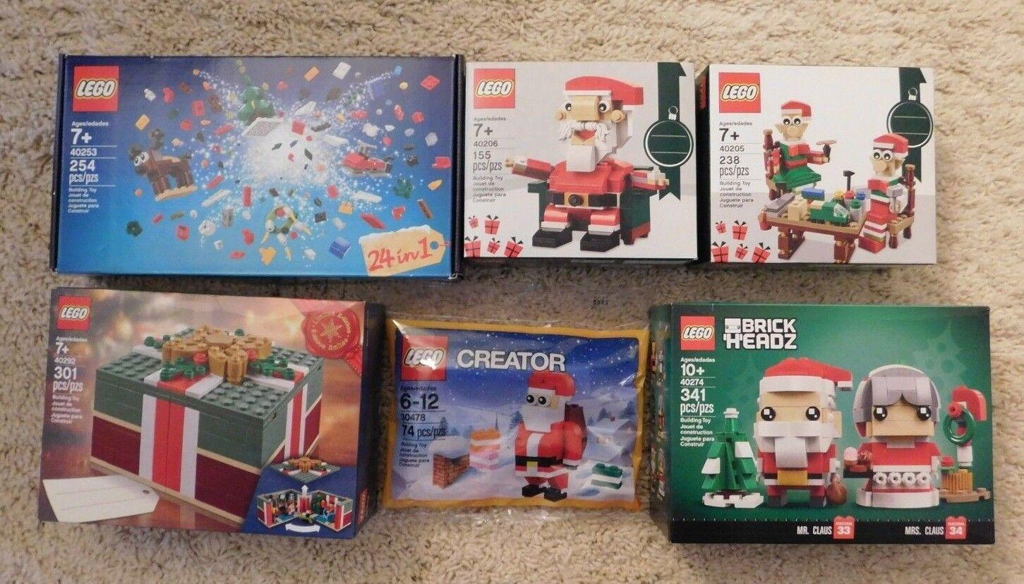 Lego 6 Pc Conjunto de vacaciones Santa. 40274 40206 40253 40292 40205 30478 Nuevo en Caja Buen