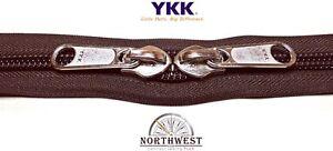 YKK Nylon Coil Zipper Tape # 10 Walnut 25 yards with 50 Nickle Zipper Sliders