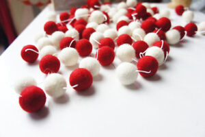 Details About Snow White Red Pom Pom Felt Balls Nursery Room Christmas Garland Wall Hanging