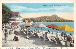 WAIKIKI-BEACH-Honolulu-T-H-Hawaii-Sunbathers-1934-Vintage-Postcard