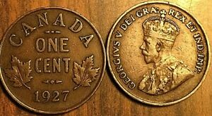 1927 CANADA SMALL 1 CENT COIN PENNY G TO F BUY 1 OR MORE ITS FREE SHIPPING!