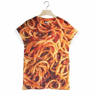 Lot 1 Spaghetti Bolognaise all over Fashion alimentaire Imprimer Nouveauté Unisexe T-Shirt
