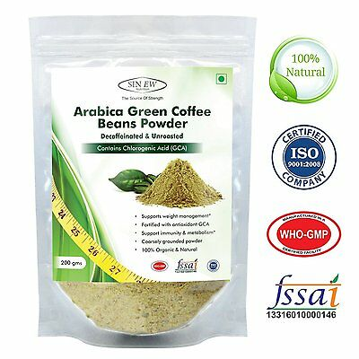 Green Coffee Beans Powder 200gram Decaffeinated Unroasted