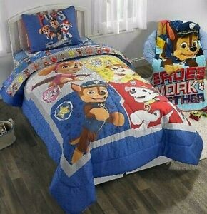 Paw Patrol Twin Bed Set Boys 4 Piece Comforter Sheets Gang S All