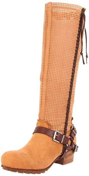 BOHO +BACIO 61 PALPARE Tan Leather KNEE BOOTS w Brown LEATHER HARNESS sz 9.5