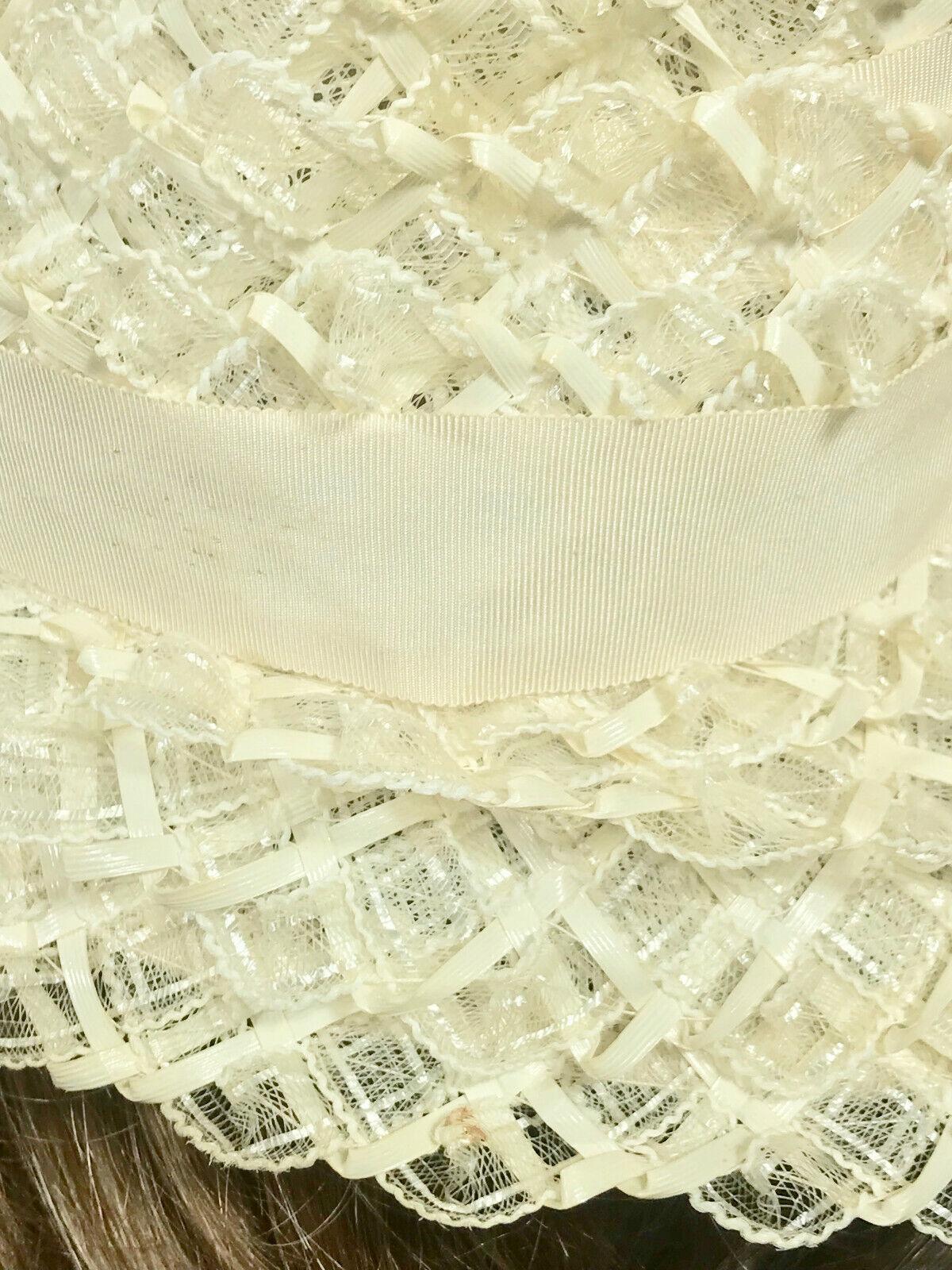 Vintage Ladies Summer Faux Layered Straw W/ Ribbo… - image 8