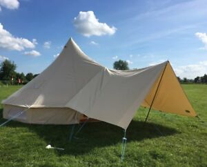 Image is loading Large-Canvas-Bell-Tent-Awning-400-x-240- & Large Canvas Bell Tent Awning 400 x 240 - 1 pole By Bell Tent ...