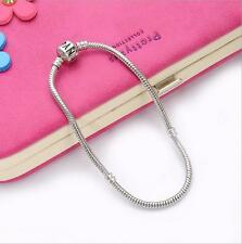 Free Shipping Fashion Silver Snake Chain Bracelet Fit European Charm Beads18cm