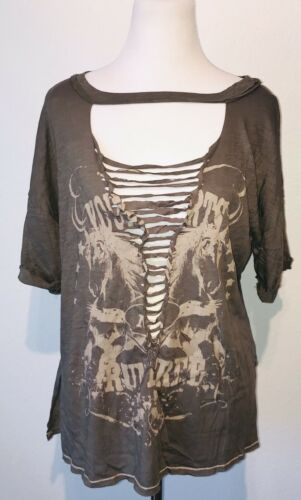 Urban Outfitters Emory Park Army Green Sheer Mesh Ripped Rock Boho T-Shirt Top S