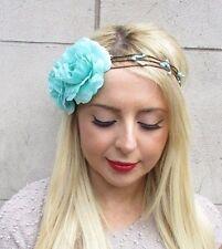 Turquoise Blue Flower Garland Headband Hair Crown Headpiece Festival Rose 3228