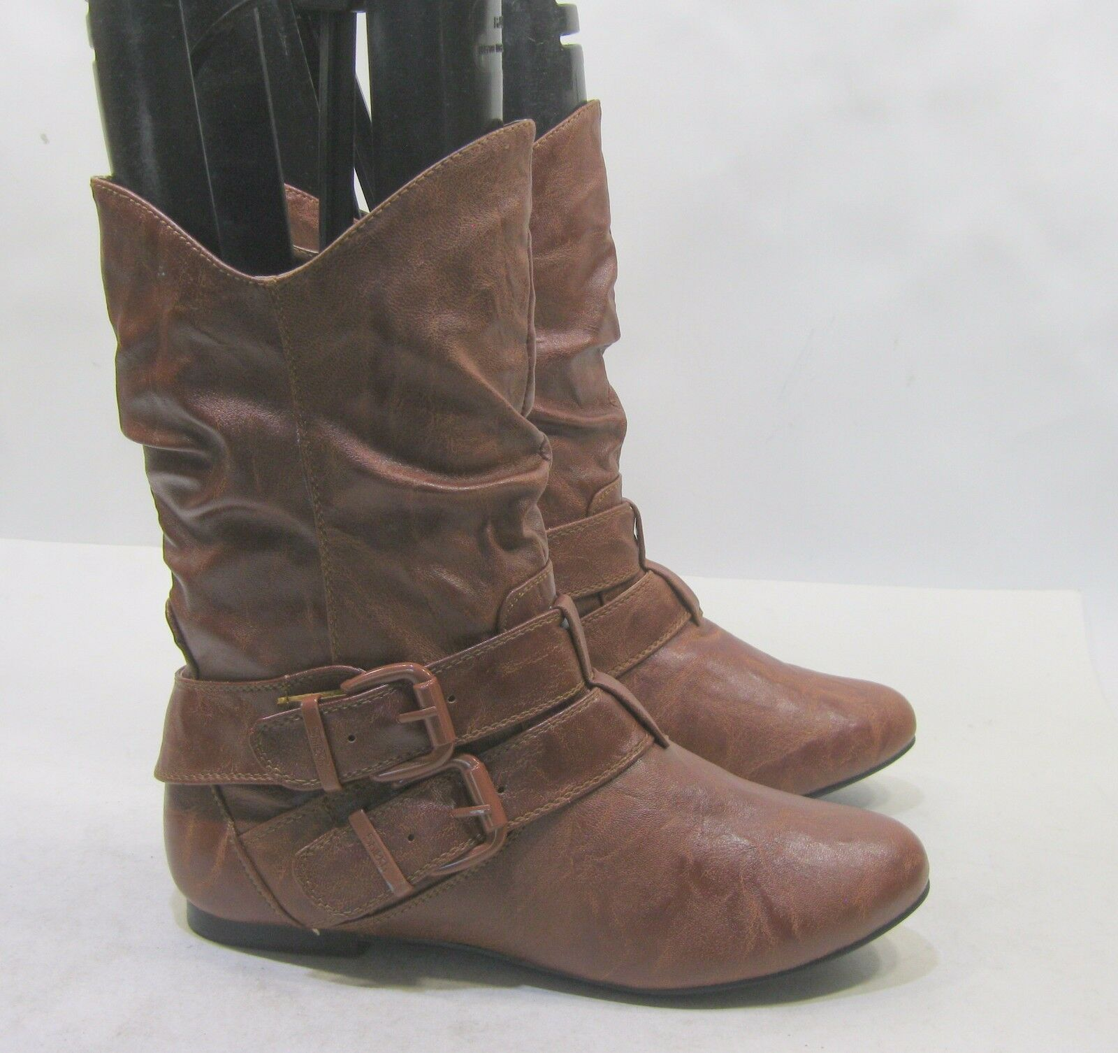Womens Tan Round Toe Sexy Ankle Boots Size 8.5
