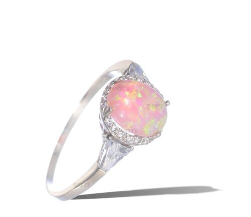 White Gold 925 Sterling Silver Oval Cut Pink Fire Opal w// Baguette CZ Ring