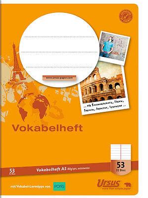 Vokabelheft A5 32 Blatt in 2 Spalten geteilt liniert Schulheft Vokabel von Ursus