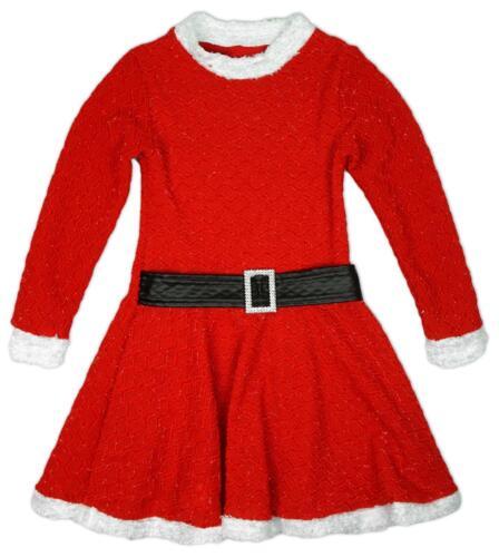 Ragazze Brillantini Babbo Natale Elf Christmas Natale Skater Vestito Con Cintura 2-13 anni