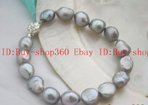 "Nouveau 8-9 mm Baroque Gray freshwaterculturred Pearl Bracelet 7.5/"""