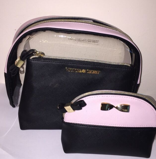 Victoria S Secret Pink Black Cosmetic Trio Makeup Bags Gold Bow Case Nwt