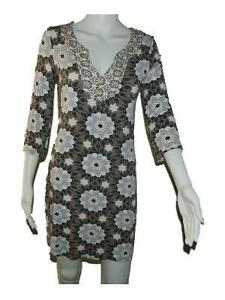 Womens-Boden-Brown-White-Gray-Floral-3-4-Sleeve-Knit-Dress-sz-UK-8-US-4