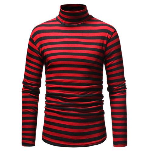 US Fashion Men Cotton High Collar Striped Turtleneck Skinny Long Sleeve Sweaters