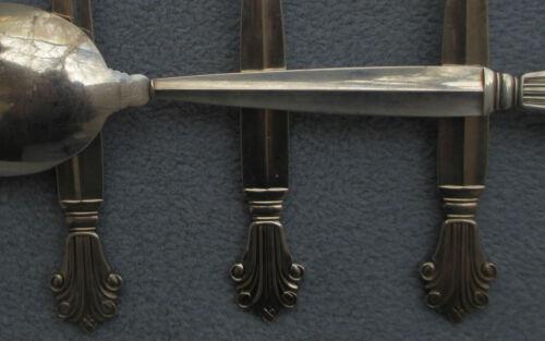 FOUR Georg Jensen Sterling Silver Acanthus Large Dessert Place Spoons Denmark