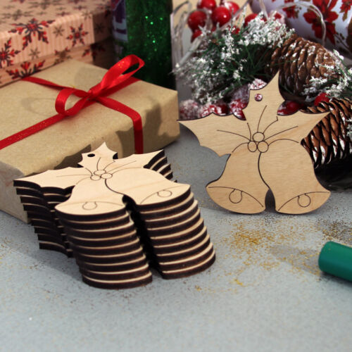 10 Wooden Christmas Bells Hanging Decorations Craft Blanks Shapes Embellishments