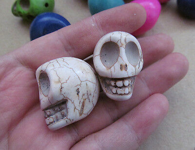 10pc 22*30mm Big Howlite Turquoise Charm Carved Skull Beads Wholesale PJ022