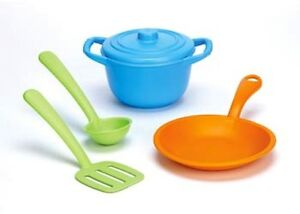 GREEN-TOYS-CHEF-SET-stock-pot-skillet-ladle-spatula-cooking-toy-pretend-play-NEW