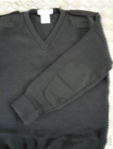 "100/% Wool Size 38/"" Small Genuine British Police Jumper MoD Black V-Neck"