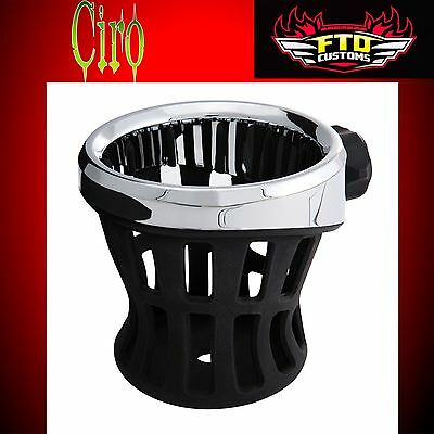 Ciro 50611 Black Left or Right Perch Mount Drink Holder for Harley or Metric