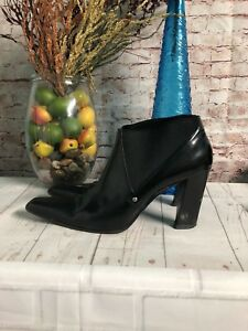 PRADA-Women-s-Bootie-Size-38-8-Italian-Leather-Stretch-Ankle