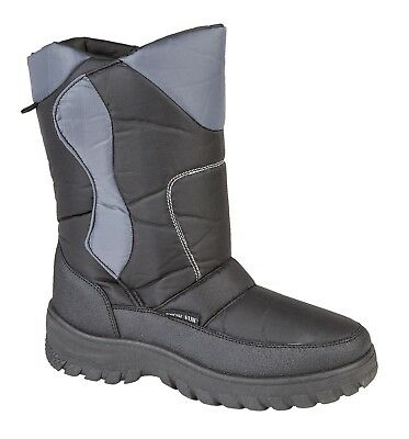 Vorsichtig New Mens Fleecy Lined Snow Boot Black Grey 7 8 9 10 11 12