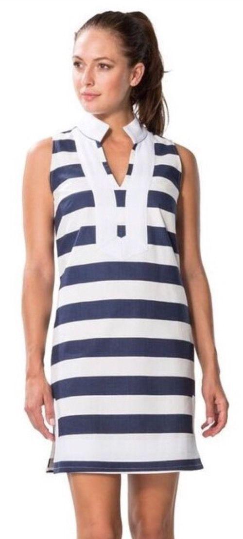 NWT SAIL TO SABLE SABLE SABLE Eastern Seaboard Navy White Stripe Dress Sz XL- 198 2cfe15