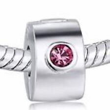 "Silver Plate ""PINK DIAMANTE CLIP"" Crystal Threaded CHARM Bead European Bracelet"
