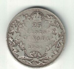 CANADA-1911-TWENTY-FIVE-CENTS-QUARTER-KING-GEORGE-V-STERLING-SILVER-COIN