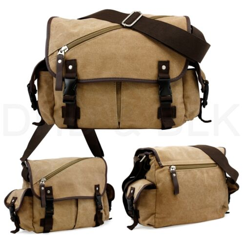 Messenger Bag School Shoulder Bag Men/'s Vintage Crossbody Satchel Canvas Leather