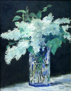 """Edouard Manet - White Lilacs in a Glass Vase (1882) Signed - 17"""" x 22"""" Art Print"""