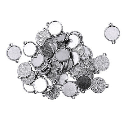 50pcs Tibetan Silver 12mm Cameo Cabochon Settings DIY Pendant Blanks Tray