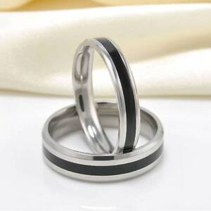 Fashion-Jewelry-Black-Titanium-Band-Stainless-Steel-Ring-For-Men-Women-Size-6-10
