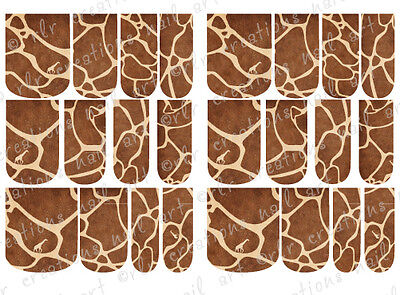 24 FULL COVER Water Slide  Nail Decals * GIRAFFE PATTERN* 12 SIZES  NAIL WRAPS
