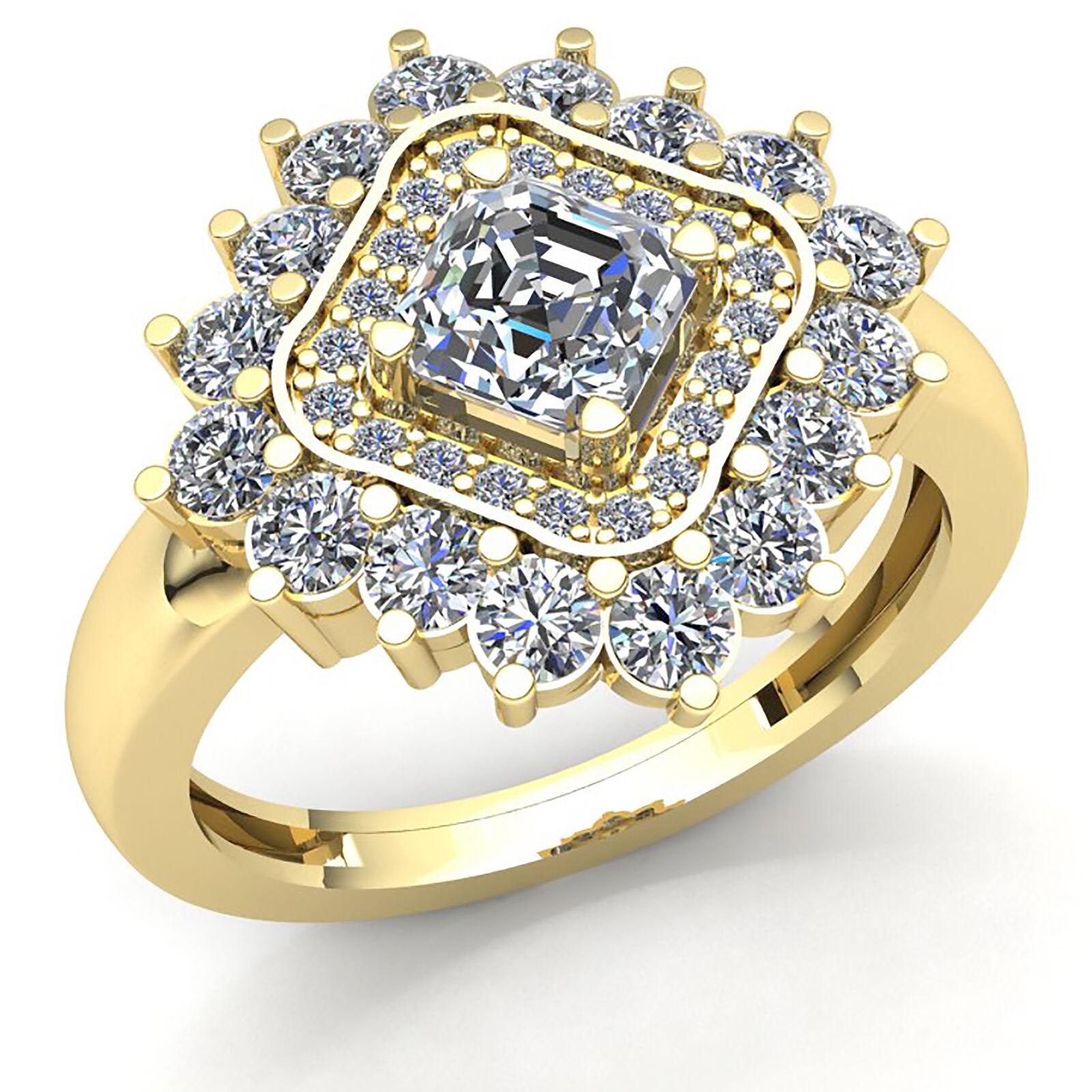 c7b69d1fe9728 Genuine 1.50ct Princess Cut Diamond Womens Double Halo Engagement Ring 10K  gold nwnvfp6146-Diamond