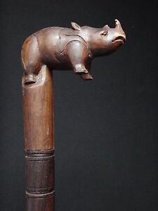 Ancienne-canne-bois-sculpte-rhinoceros-Wooden-carved-cane-95cm