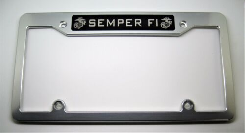 TOP SEMPER FI Billet Aluminum License Plate Frame Clear Anodized BLACK BADGE