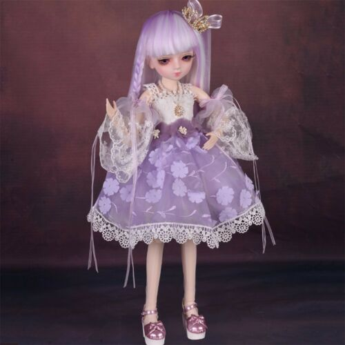 BJD Doll 45cm Ball Jointed Body Girl Dolls Face Makeup Eye Changed Wig Dress Set