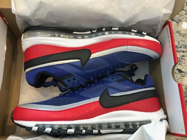 NIKE AIR MAX 97   BW Deep Royal bluee Red Men's Sneakers Brand New in Box Size 11
