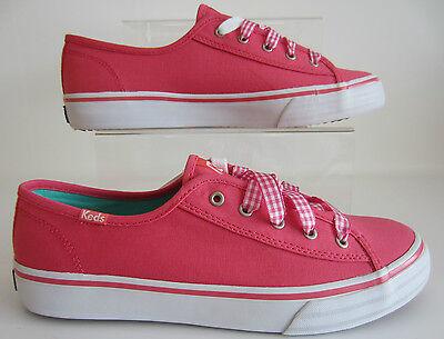 Keds Doppel geschnürt korallenrot wf49941 Damen Leinen Schuhe UK 3 to 6.5 (R41b)